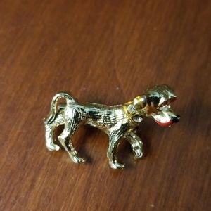 Vintage gold colored dog brooch